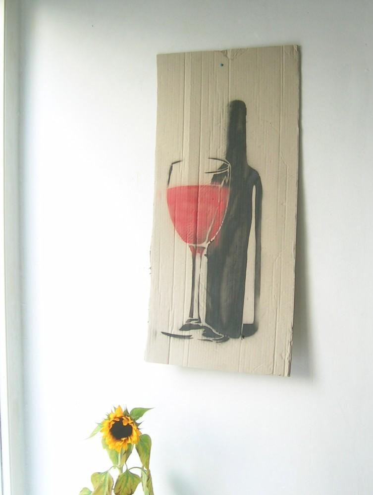 Flasche mit Glas - schablone